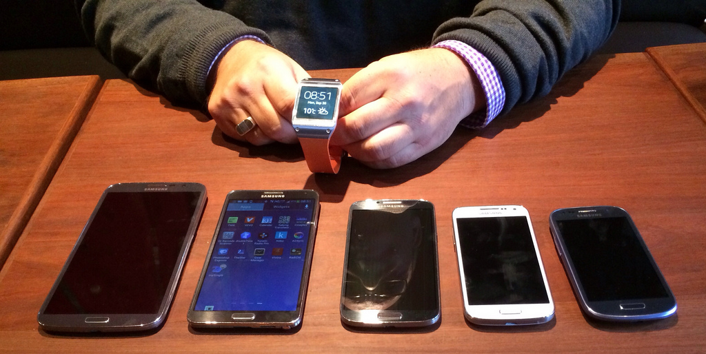 The Galaxy Gear on top along with the Mega, Note 3, S4, S4 Mini & S3 Mini